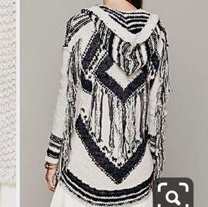 Free People full zip hooded sweater sz XS cream